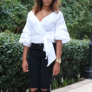 PrettyLittleThing White wrap blouse
